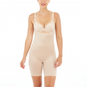 Spanx Thinstincts 2.0 Open Bust Mid Thigh Body Champagne Beige