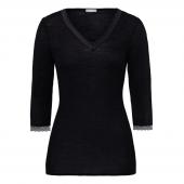 Hanro Woolen Lace 3/4 mouw Shirt Black - Annadiva