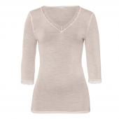Hanro Woolen Lace 3/4 Sleeve Shirt Vanilla - Annadiva